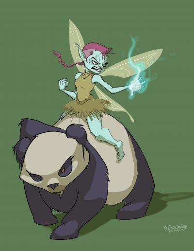 Pixies on Pandas! Green BG