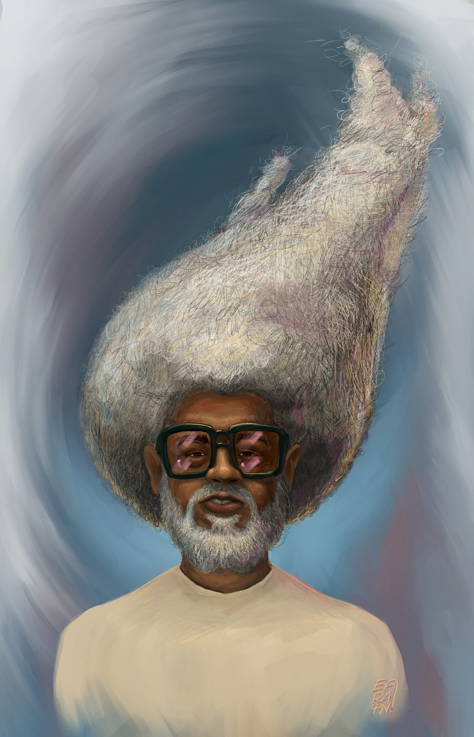 Black Man with White Beard and Large White Afro that whimsically whisps upward like a flame